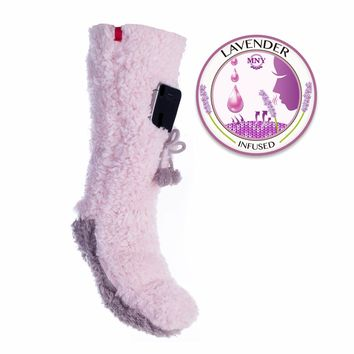 Super fluff Iphone sock, with sherpa lining, lavender capsule infused, with cell phone pocket