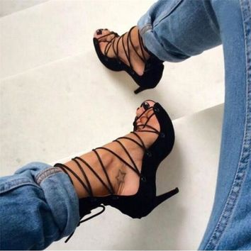 Roman Gladiator High Heel Lace Up Pumps