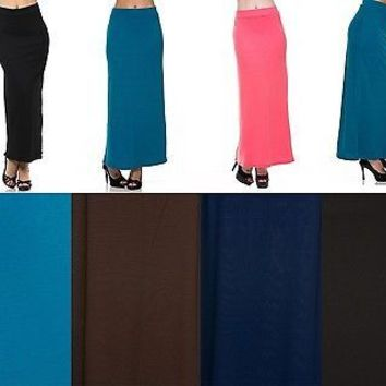 Solid Plain Draped JERSEY MAXI LONG SKIRT Banded Waist Full Length Long Dress