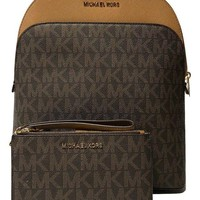 DCCKUG3 MICHAEL Michael Kors Emmy Large Backpack bundled with Michael Kors Jet Set Travel Double Zip Wallet Wristlet