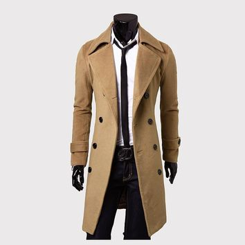2018 fall men's Trench coat  , Fashion Men's Slim Double-breasted Long Wool Coat , High quality jacket Father's Day gift - Khaki