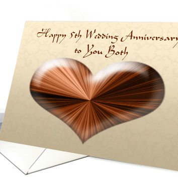 Happy 5th Wedding Anniversary to you Both, Card