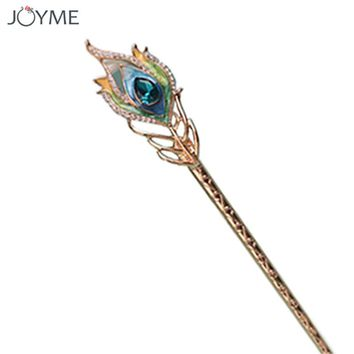 Shiny Gold Crystal Hairpins Bride Peacock Hair Sticks Queen Enamel Jewelry Romantic Headdress Hair Fork Wedding Hair Accessories