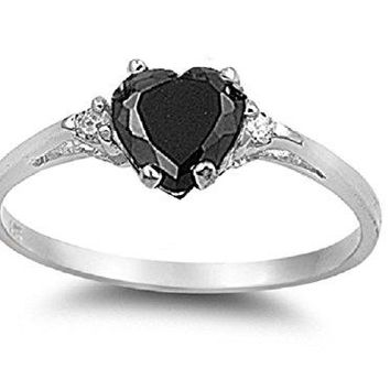 AUGUAU Cubic Zirconia Heart Promise Ring Sterling Silver (Color Options, Size 3-15)