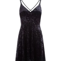 Black Glitter Velvet Lace Up Back Skater Dress | New Look