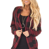 Burgundy and Black Checkered Long Sleeve Cardigan