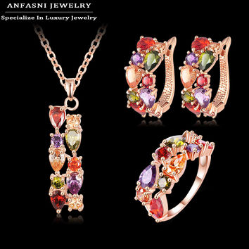 ANFASNI Newest Beautiful Fashion Set Rose Golden Color Chaming Mutil color Zirconia Women Necklace/Earring/Ring Set CST0030-A