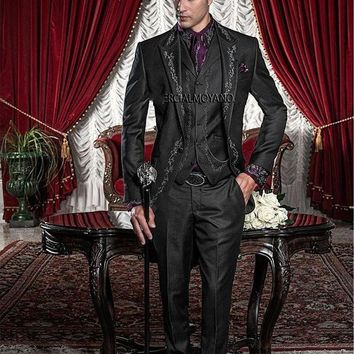 DCCKON3 New Style Black Silver Gray Embroidery Groom Tuxedos Groomsmen Men's Wedding Prom Suits Bridegroom (Jacket+Pants+Vest) K:594