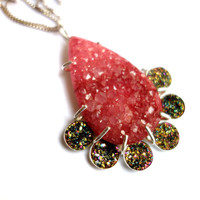 Handmade Statement Peach and Abstract Drusy Pendant