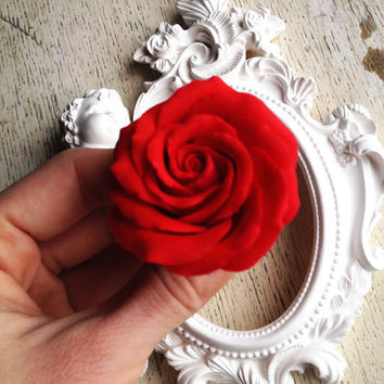 Floral hair pin, hair accessories, red rose hair pin, rose pin, hair flower, flower hair accessories, online shopping, hair fascinators