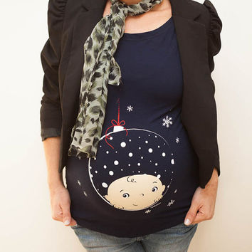 Christmas Ornament Maternity shirt, Bauble Maternity Shirt ,COOCKUBOO pregnancy Shirt, New Mom Long sleeve shirt maternity wear. Buy It Now!