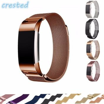 NOVO5 CRESTED Luxury Magnetic Milanese Loop Wrist strap for Fitbit Charge 2 Link Bracelet Stainless Steel Band Adjustable Closure