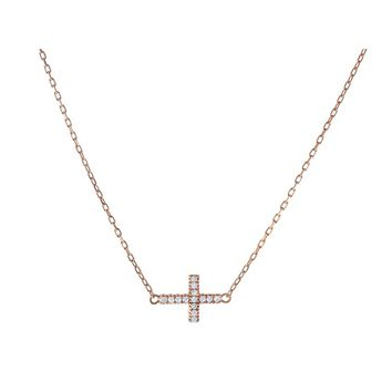 Fronay Co .925 Sterling Silver Sideways Cross Necklace Dipped in Rose Gold