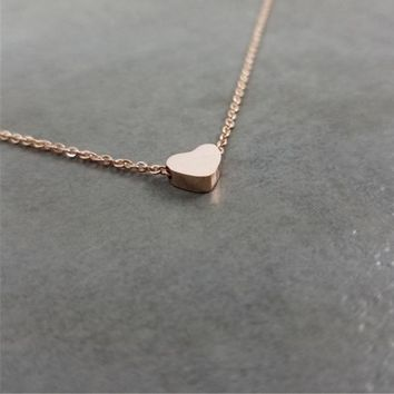 Women Dainty Tiny Heart Shaped Necklace