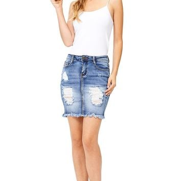 Crystal Distressed Denim Skirt