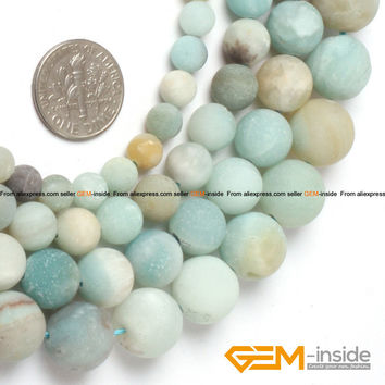 """Round Frost Mixed Color Amazonite Beads Natural Stone Beads DIY Loose Beads For Jewelry Making Bead Strand 15""""Free Shipping"""