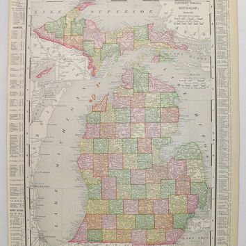 Vintage MI Map Michigan Upper Peninsula Map, Detroit City Street Map 1898 Antique Map Michigan Gift for Parents, Man Cave Decor Gift for Him