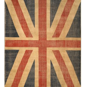 EORC Hand-knotted Wool Red Casual Flag Union Jack British Flag Rug