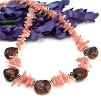 Handmade Necklace Jasper Coral Sterling OOAK Unique Beaded Jewelry