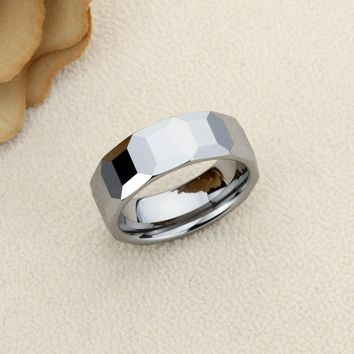 Personalized Name Ring Custom Engraving 8mm Tungsten Comfort Fit Wedding Band Faceted Dome Octagon Patterns Band - CZRTN104