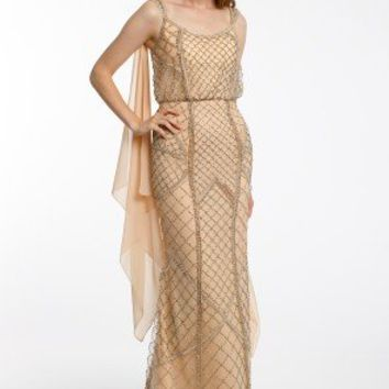 Lattice Beaded Dress with Back Sash