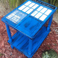 Wood Tardis Side Table