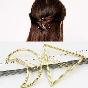DKLW8 2017 New Hairpins Triangle Moon Hair Pin Jewelry Lip Round Hair Clip For Women Barrettes Head Accessories Bijoux De TeteHeadwear