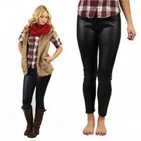 Liquid Leather Fleece Lined Leggings