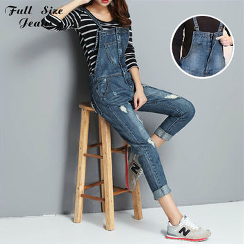 Fall Spring Plus Size Zip Front Ripped Hole Denim Jumpsuits Femme Elegant  Overalls And Rompers Long Coveralls 22 XS 7XL 4Xl 6Xl