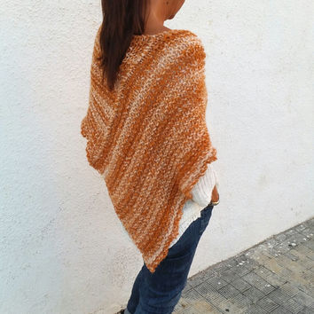 Knitted wrap, orange wool poncho,OOAK, knit poncho, winter knitwear, gifts for her, loose knit poncho, shawls and wraps, winter trends,