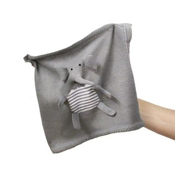 Organic Elephant Lovey or Baby Security Blanket