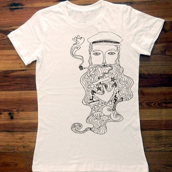 Salty Sea Captain Gray Line Drawing Women's by trulysanctuary