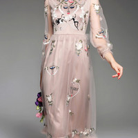 Brown Sheer Gauze Embroidered Long Dress -SheIn(Sheinside)
