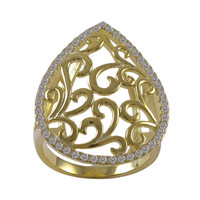Gold Plated Sterling Silver Filigree Ring With CZ Border