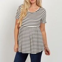Black-Striped-Short-Sleeve-Babydoll-Top