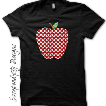 Polka Dot Apple Shirt - Third Grade Teacher's Shirt / Field Trip Outfit / Teacher Team Tshirt / Fourth Grade Assistant Clothes / Red Apple