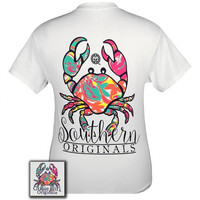 Girlie Girl Originals Southern Preppy Crab Pattern White T-Shirt
