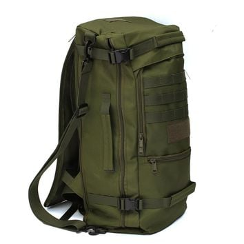 50L Canvas Outdoor sports Military Tactical Rucksack travel Camping Hiking Backpack climbing bag double shoulder Bag