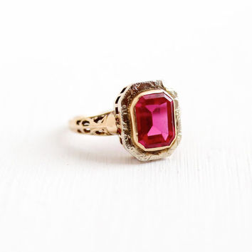 Vintage 10k White & Rose Gold Art Deco Created Ruby Ring - Size 3 1/2 Antique Filigree 1920s Red Pink Stone Filigree Fine Jewelry