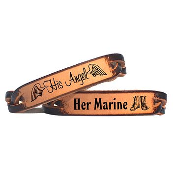 His Angel & Her Marine Leather Bracelets (Pair)