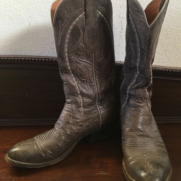 vintage Texas made  women Gray Lucchese OSTRICH BOOTS 8 1/2 B cowboy western boots hipster  boho chic