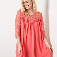 Umgee Rose Pink Dress with Lace Detail