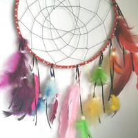 Colorful Dream Catcher, Rainbow Feathers, Large 9 inch, Native American Style, Boho Hippie Dreamcatcher, Red