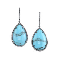 Sheryl Lowe Mexican Turquoise Teardrop Earrings with Diamonds
