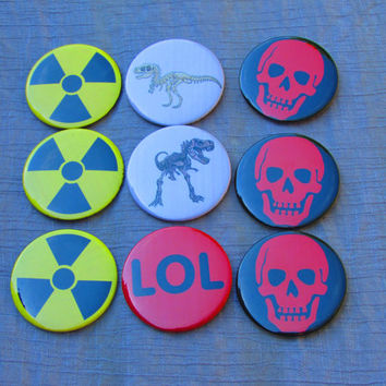 Radioactive, Dinosaur, Lol and Skull badges