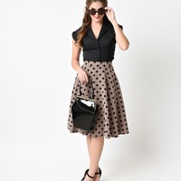 Retro Tan & Black Dot High Waisted Thrills Circle Skirt