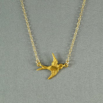 Flying Swallow Bird Necklace, 24K Gold Vermeil, 14K Gold Filled Chain, Modern, Simple, Delicate, Everyday Wear Necklace