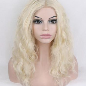 Short Blonde Bob Curly Synthetic Lace Front Wig