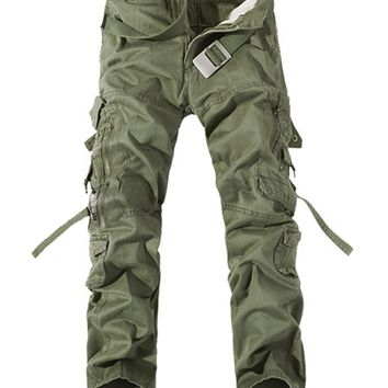 Casual Flap Pocket Solid Straight Cargo Pant For Man