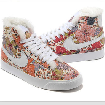 NIKE Women Men Running Sport Casual Shoes Sneakers high tops Plush shoes floral Brown pink